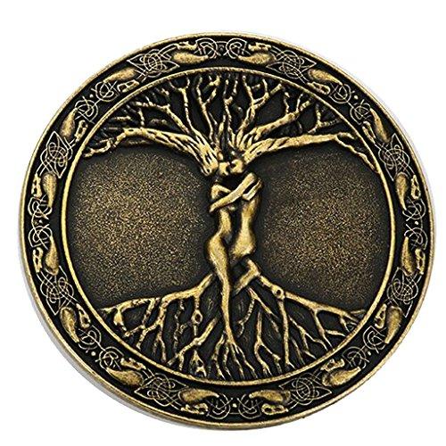 Prettyia Schmuck Herren Baum Des Lebens Muster Gürtelschnalle - Silbern - Bronze, 8cm (Griechisch-gürtelschnalle)