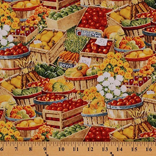 cotton-bringing-in-the-harvest-fruits-vegetables-flowers-farmers-market-cotton-fabric-print-by-the-y