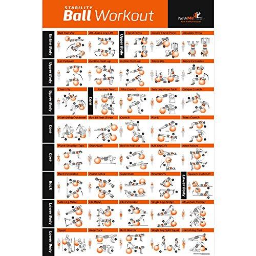 Übungsballposter, laminiert - Total Body Workout - Personal Trainer Fitness Programm - Schweizerisch, Yoga, Balance & Stabilitätsball Home Gym Poster - Tone Your Core, Bauchmuskel, Beine Gluts & Oberkörper - 50,8 x 76,2 cm -