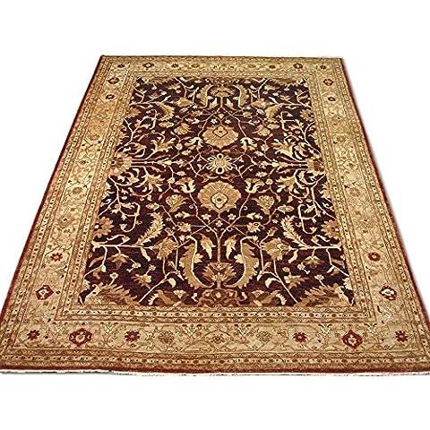 Agra rettangolare realizzato a mano, in lana, rosso scuro, 473