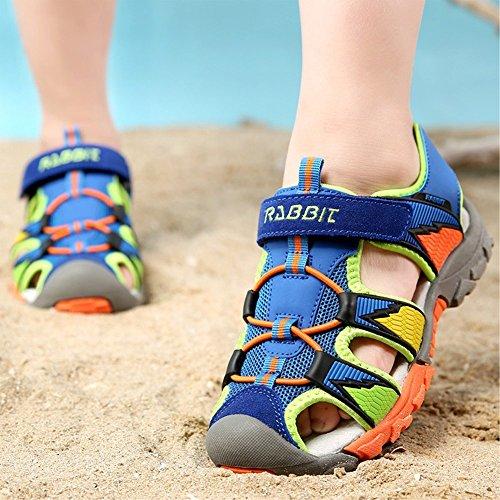 Bunt Stripe Rutschfest Sandalen Geschlossene Ultraleicht Multicolor Strand Kinderschuhe Sommer Outdoor Breathable Wanderschuhe Unisex Jungen Mädchen Blau