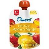 Dwezo Organic - Baby Food - Apple & Mango Fruit Puree - 6+ Months, 90g (Pack of 6)