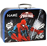 Pappkoffer / Kinderkoffer -  Spider-Man / Ultimate  - incl. Name - Groß - Koffer / Puppenkoffer - Reisekoffer aus Pappe mit Metall Griff - Spinne / Spinnenm..