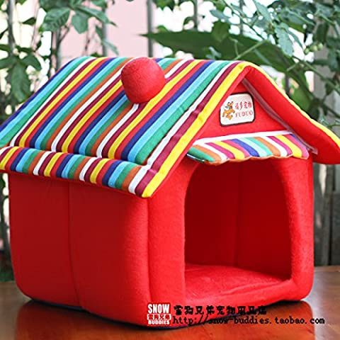 ZPP-Lettiera di gatto di quattro stagioni piccolo canile GER post Wo lavabile pet Teddy fossa di scolo del cane piccolo cane di casa,la Casa Rossa,2,L-tipo