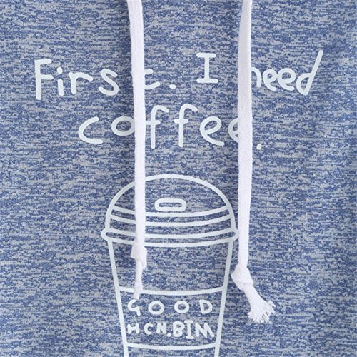 LHWY Donna Caffè Stampa Colture Con Cappuccio Senza Maniche T-Shirt Top Blue