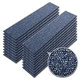 Teppichfliesen PINE | selbstliegend ohne Kleben | schadstoffgeprüft, GUT-Siegel | Bitumen Rücken | 100x25 cm | Denim Blau | 20er Set (5qm)