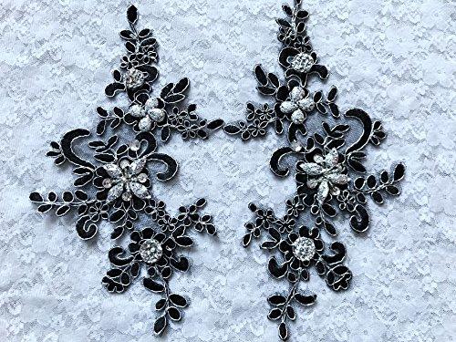 Fait à la main coudre Correctifs de cristal noir paillettes strass Bordure en dentelle Applique 22 x 10 cm pour robe Jupe