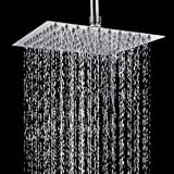 TAPCET Rain Shower Head Square Shower Head Overhead 304 Stainless Steel 8 Inches High Pressure Ultra Thin Top Spray Rainfall Shower Head