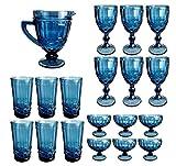 Vintage 19 Teile Set König Weinglas Glas Gläser Weingläser Eisbecher Wasserglas Longdrinkglas Wasserkrug (Blau)