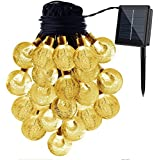 Globe exterior solar String Lights, creland 20ft 30LED Crystal Ball Waterproof Outdoor String Lights Solar Powered Globe Fairy String Lights for garden, Yard, Home, Christmas Party, Warm White