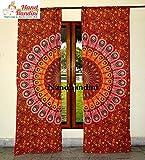 NANDNANDINI TEXTILE - Indische Tür Fenster Pfau Vorhänge Boho Mandala drapieren Volants Vorhang drapieren handgemachte Öse Panel Set Duschvorhang Badezimmer Dekor Gardinen