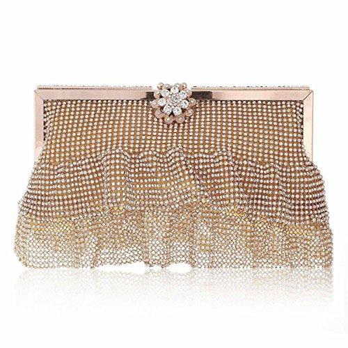 Damara® Bling Damen Blumen-Strass Verschluss Partys Taschen Mit 2 Ketten Gold