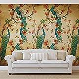 Muster Pfauen Blumen Vintage - Forwall - Fototapete - Tapete - Fotomural - Mural Wandbild - (3584WM) - XXL - 312cm x 219cm - VLIES (EasyInstall) - 3 Pieces