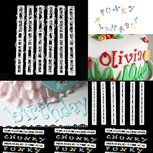 6pcs Emporte-pièces Moules Lettres de l'Alphabet et Chiffres Décoration de Gateau Fondant