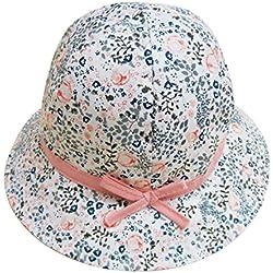 FEOYA Bonnet Bébé Fille Fleurs Imprimer Printemps été Chapeau Solaire en Coton Protection en Plein Air Plage Mer Blanc 46cm 6-12 Mois