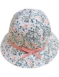 Feoya - Sombrero para Bebé Niña Estampado Flores Tipo de Pescador de Algodón Gorro Protección contra Sol - Blanco
