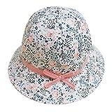 FEOYA Bonnet Bébé Fille Fleurs Imprimer Printemps été Chapeau Solaire en Coton Protection en Plein Air Plage Mer Blanc 46cm