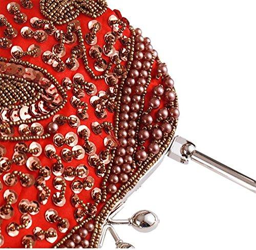 Damen Taschen Clutch Kleid Abend Party Hochzeit Schulter Handtasche Vintage Perlen Multi-Color gold