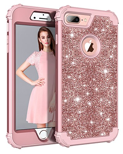 Casetego iPhone 8 Plus Hülle,iPhone 7 Plus Hülle, Luxury Glitter Sparkle Bling Heavy Duty Hybrid Sturdy Armor Defender Shockproof Protective Cover Case for Apple iPhone 8 Plus /7 Plus,Rose Gold Phone Cover Glitter