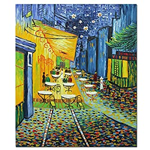 Fokenzary Hand Painted Café Terrace at Night Reproduction of Vincent Van Gogh Famous Artwork Modern Abstract Canvas Painting for Living Room Bedroom Wall Decor Framed Ready to Hang