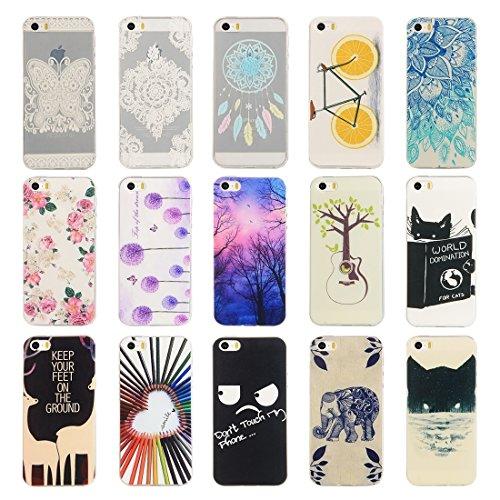 iPhone Case Cover Pour iPhone 5 & 5s & SE papillon et motif de fleur TPU étui de protection ( SKU : IP5G4982N ) IP5G4982F
