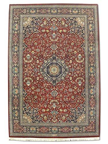 Handgeknüpfter Kashan Teppich, Rot, Wolle / Seide (Höhepunkte), 186 X 276 cm