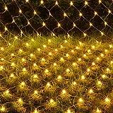 YANGLAN Net Licht 220 V Starry Glänzende Netzlampe Wasserdicht Rasen Party Garten Nacht Dekoration 8 Blitzmodus Controller (gelb)