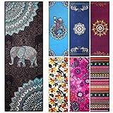 Yoga Handtuch–fremous rutschfeste bedruckt Matte Handtücher mit Ecke Pocket Design (182,9x 63,5cm)-Perfekt für Hot Yoga, Fitness, Pilates, Sport & Outdoor, Indian