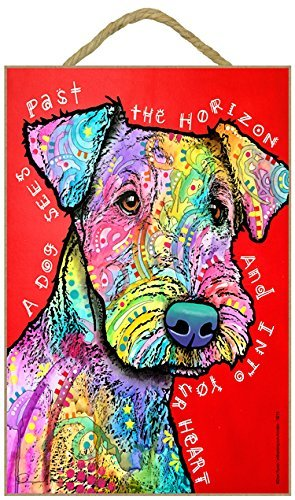 (SJT78215) Airedale - A dog sees past the horizon and into your heart 7 x 10.5 wood plaque/sign featuring the artwork of Dean Russo by - Dean Russo Artwork