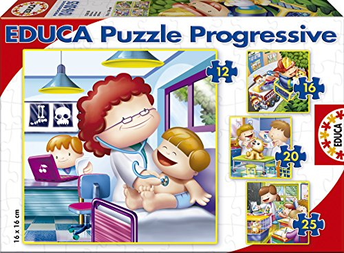 Puzzles Educa - Mayor Quiero Ser, rompecabezas progresivos, 12-16-20-25 piezas (15618)