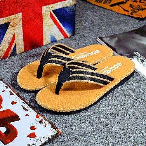 Homme Tongs ,OverDose ÉTé Sandales De Plage MâLe Chaussures Des Sandales Stripe Slipper Flip-Flops Jaune