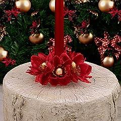Idea Regalo - EDG ENZO DE GASPERI Ghirlanda Centrotavola Girocandela con Supporto Natale Shabby Chic Magnolia Velluto Rosso Diametro 10 cm