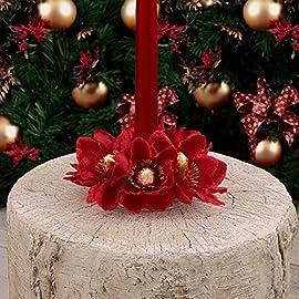Fiori 22 cm WeRChristmas-Decorazione Natalizia Decorazione Centrotavola con Supporto portacandela Motivo: Agrifoglio Colore: Rosso//Oro Foglie Motivo Natalizio