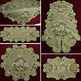 Margariten Tischläufer Mitteldecke Tischdeckchen Grün - Serie mit Größenwahl (ca. 30 cm Rund)