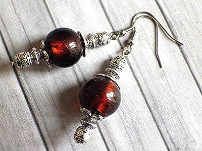 Boucles d'oreilles Thurcolas de la gamme Venezia en perles de verre de Murano marron