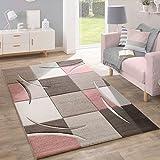 Designer Teppich Modern Konturenschnitt Pastellfarben Mit Karo Muster In Beige Rosa, Grösse:60x110 cm