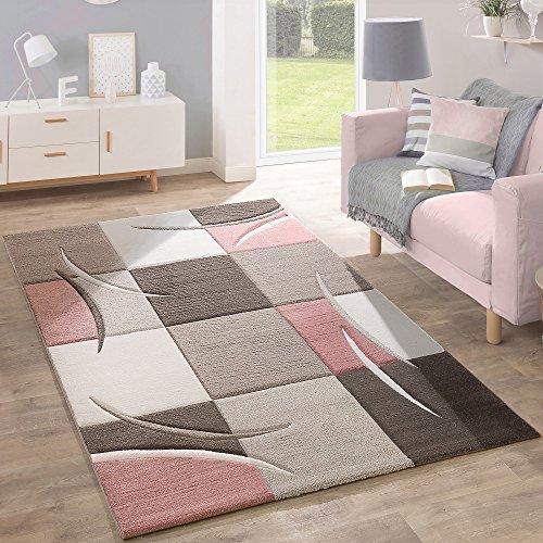 Alfombra De Diseño Moderna Contorneada En Colores Pastel Con Estampado Cuadriculado En Beige Y Rosa, tamaño:80x150 cm