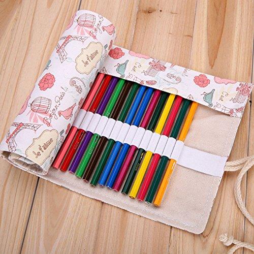 Xytmy Kreative, handgefertigte Bleistifte für Leinwandmalerei miit Rolltasche zum Einstecken der Bleistifte, Radiergummi, Spitzer, Marker, Häkelnadel oder Zubehör 72 Holes, Love in Paris