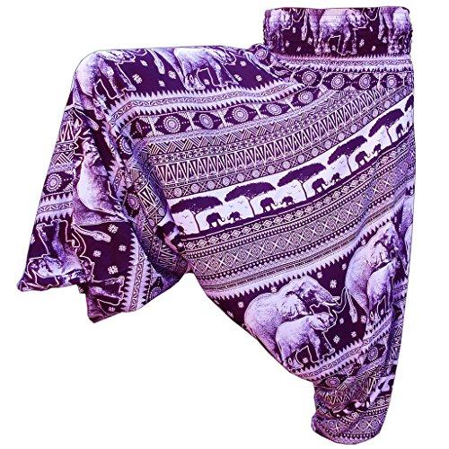 Panasiam Aladin Pants - Pantalones, diseño de elefantes, color natural - morado...