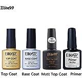 Base Top Coat Semi Permanent Elite99 4pcs Vernis à Ongles Vernis Semi Permanent TOP Coat Mat UV LED Soak Off Nail Polish avec