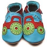 Inch Blue Mädchen/Jungen Schuhe für den Kinderwagen aus luxuriösem Leder - Weiche Sohle - Traktor Türkis