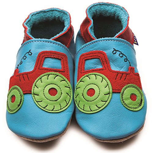 Inch Blue Girls Boys Luxury Leather Soft Sole Pram Shoes - Tractor Turquoise Blau