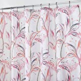mDesign Duschvorhang mit Blumenmuster - ideales Badzubehör mit perfekten Maßen - langlebige Duschgardine - weiß/orange/pink/blau