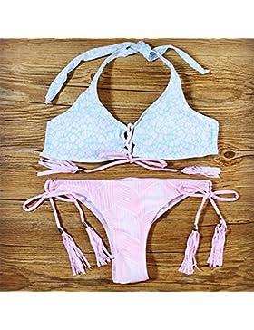 Conjuntos de Bikini Sexy traje de baño Trajes de Baño tendencias de adelgazamiento Split-Style bañador Azul, Rosa,M