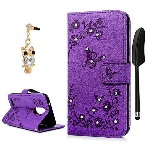 YOKIRIN LG K4 2017 Hülle Case Tashce Crystal Diamant Retro PU Schutzhülle Handytasche Standfunktion Schmetterling Kreditkarten Halter Magnetische Portemonnaie Handyhülle für LG K4 2017 Purple
