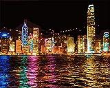 CaptainCrafts Neu Malen Nach Zahlen Kits 16x20 für Erwachsene Anfänger Kinder, Creative DIY digitales Ölgemälde Kinder Leinwand - Hong Kong Nacht, Seestadt (Frameless)