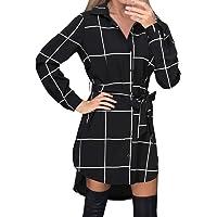 Style Dome Women's Shirt Dress Checked Long Sleeve Blouse Tartan Long Tops Checked Shirt Mini Dress Plaid Shirt Skirt
