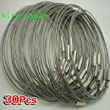 SODIAL(R) 30pcs Stainless Steel Screw Locking Wire Keychain Cable Key Rings Outdoor Accessory