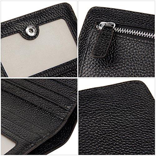 S-ZONE Pelle di cuoio genuino per abiti a barre RFID bloccanti a tasca piccola borsa portafoglio compatta con supporto monete e finestra di immagine Nero