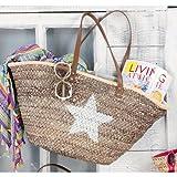 Hochwertige Korbtasche Basttasche Strandtasche Stern gefüttert